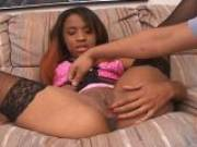 Devin Reese fingers her bald pussy and makes it all wet