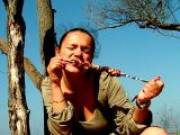 Delightful brunette young wife Dasha giving handjob and blowjob to her husband Max outdoors